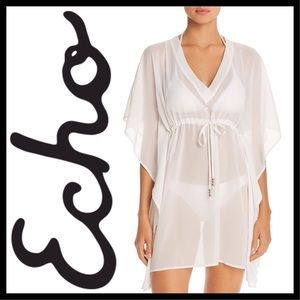 ECHO Solid White Classic Butterfly Swim Cover Up